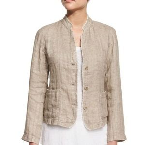 Eileen Fisher Organic Linen Mandarin Collar Jacket